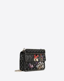 Medium poppy embroidery Rockstud Spike.it Bag