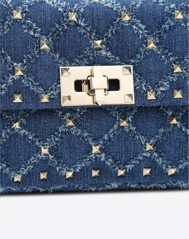 Small Denim Rockstud Spike Bag