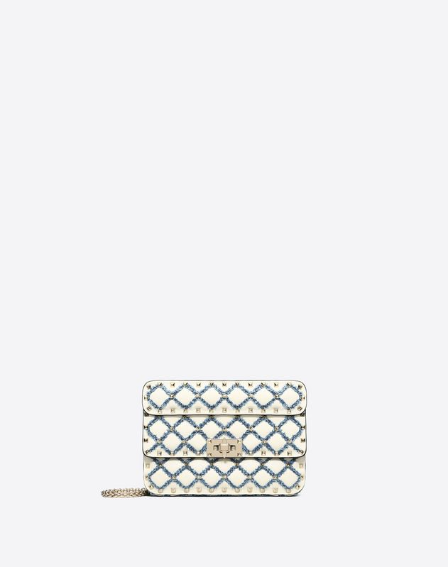 Small Rockstud Spike Bag with denim detail