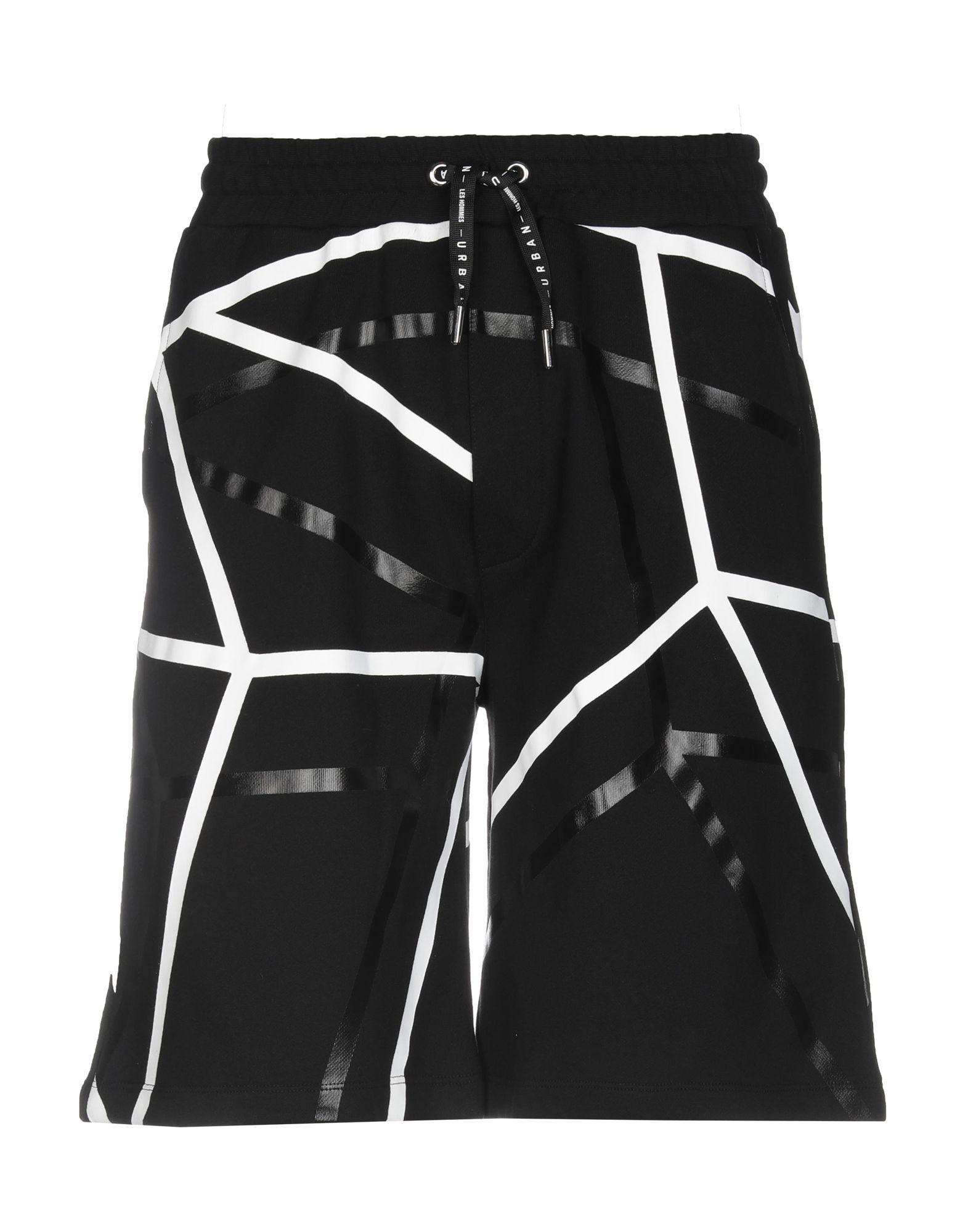 《送料無料》URBAN LES HOMMES メンズ バミューダパンツ ブラック L コットン 100% / ポリエステル