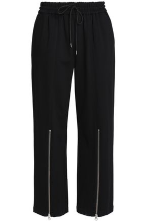McQ Alexander McQueen Cropped zip-detailed stretch-jersey straight-leg pants