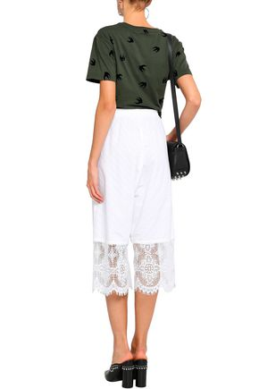 McQ Alexander McQueen Lace-trimmed broderie anglaise cotton culottes