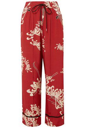 McQ Alexander McQueen Printed crepe de chine wide-leg pants