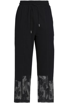 McQ Alexander McQueen Lace-trimmed French cotton-terry straight-leg pants