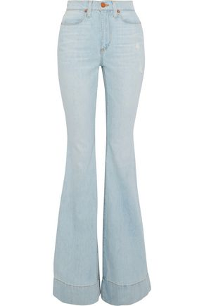 ALICE + OLIVIA JEANS Beautiful distressed high-rise flared jeans