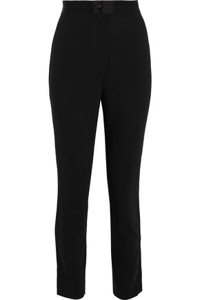DOLCE & GABBANA Satin-trimmed stretch-wool skinny pants