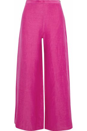 SIMON MILLER Silk and linen-blend wide-leg pants