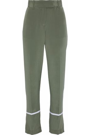 EQUIPMENT Color-block washed-silk straight-leg pants
