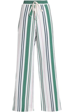 PRINGLE OF SCOTLAND Striped linen and silk-blend twill wide-leg pants