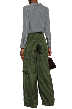 SONIA RYKIEL Pinstriped sateen-twill wide-leg pants