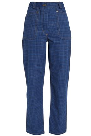 J.W.ANDERSON Leather-appliquéd checked high-rise tapered jeans