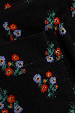 SONIA RYKIEL Floral-print cotton-blend corduroy bootcut pants