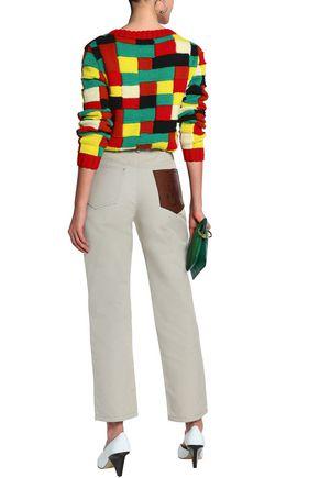 J.W.ANDERSON Leather-appliquéd woven cotton straight-leg pants