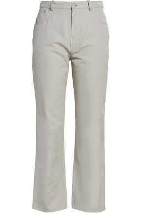 J.W.ANDERSON Leather-appliquéd woven cotton straight-leg pants
