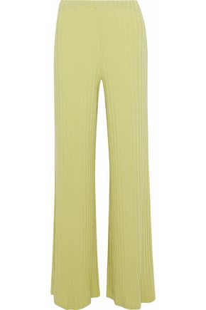 SIMON MILLER Ribbed Tencel-blend wide-leg pants