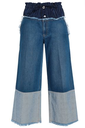 SONIA RYKIEL Pinstriped satin-paneled high-rise wide-leg jeans