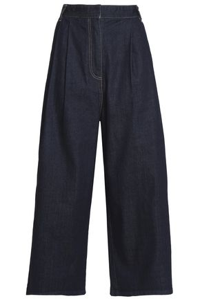 TIBI Cropped high-rise wide-leg jeans