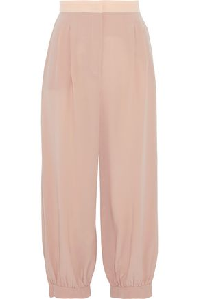 FENDI Juno cropped silk crepe de chine tapered pants