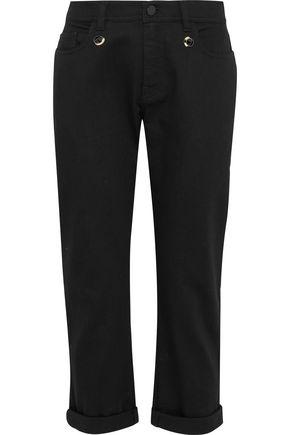 FENDI Cropped embellished mid-rise straight-leg jeans