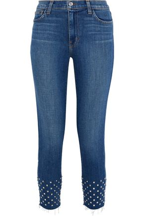 L'AGENCE Angelique cropped studded mid-rise slim-leg jeans