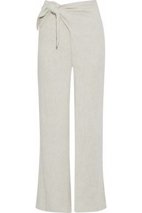 SIMON MILLER Hatton tie-front mélange ribbed-knit wide-leg pants