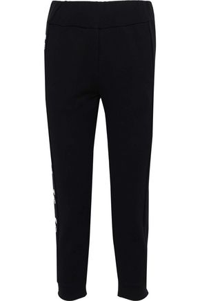 FENDI Karlito embellished French cotton-terry track pants