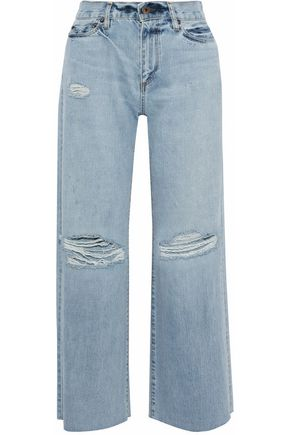SIMON MILLER Tibbee distressed mid-rise wide-leg jeans