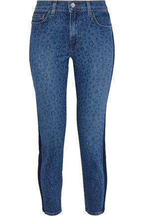 L'AGENCE Nika cropped leopard-print mid-rise slim-leg jeans