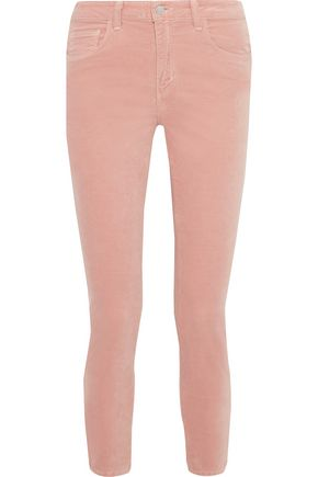 L'AGENCE Margot cropped cotton-blend velvet skinny pants