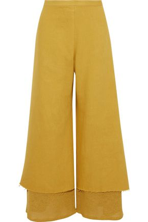 SIMON MILLER Yarnell layered cotton-twill and open-knit wide-leg pants