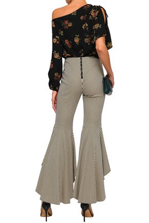 ALICE + OLIVIA Striped cotton-blend flared pants