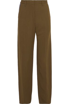 ROBERTO CAVALLI Leather-trimmed canvas straight-leg pants
