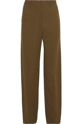 ROBERTO CAVALLI Leather-trimmed canvas straight-leg pants