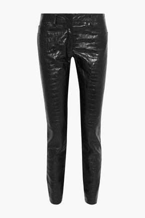 ROBERTO CAVALLI Jersey-paneled croc-effect leather skinny pants