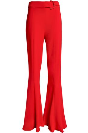 CUSHNIE ET OCHS Belted stretch-crepe flared pants