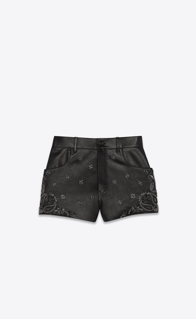 Shorts in lambskin with bandana embroidery