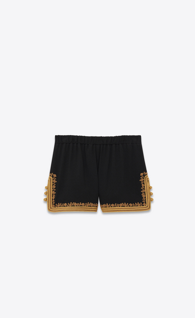 Shorts in sablé and embroidered braid