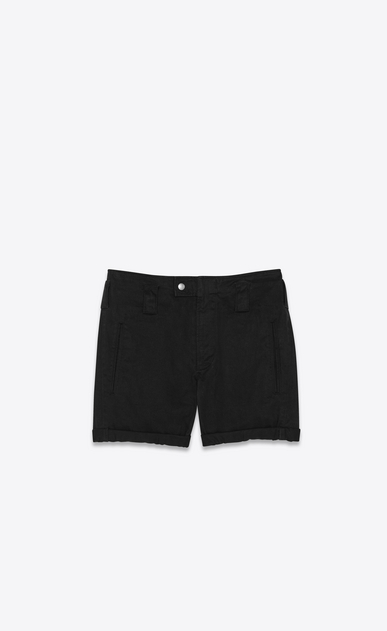 Military shorts in cotton and linen gabardine