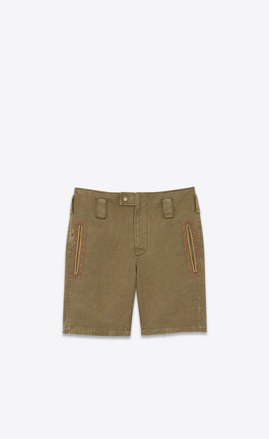 Vintage shorts in cotton and linen gabardine with embroidered braid