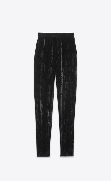 High-waist crushed velvet trousers
