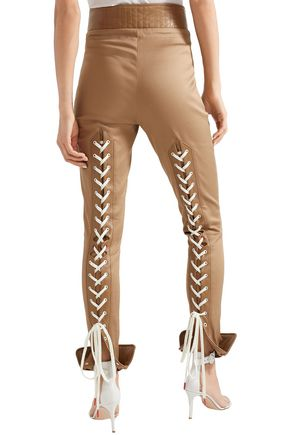 MONSE Lace-up leather-trimmed cotton-blend twill skinny pants