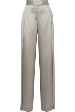 MICHELLE MASON Split-side silk-charmeuse wide-leg pants