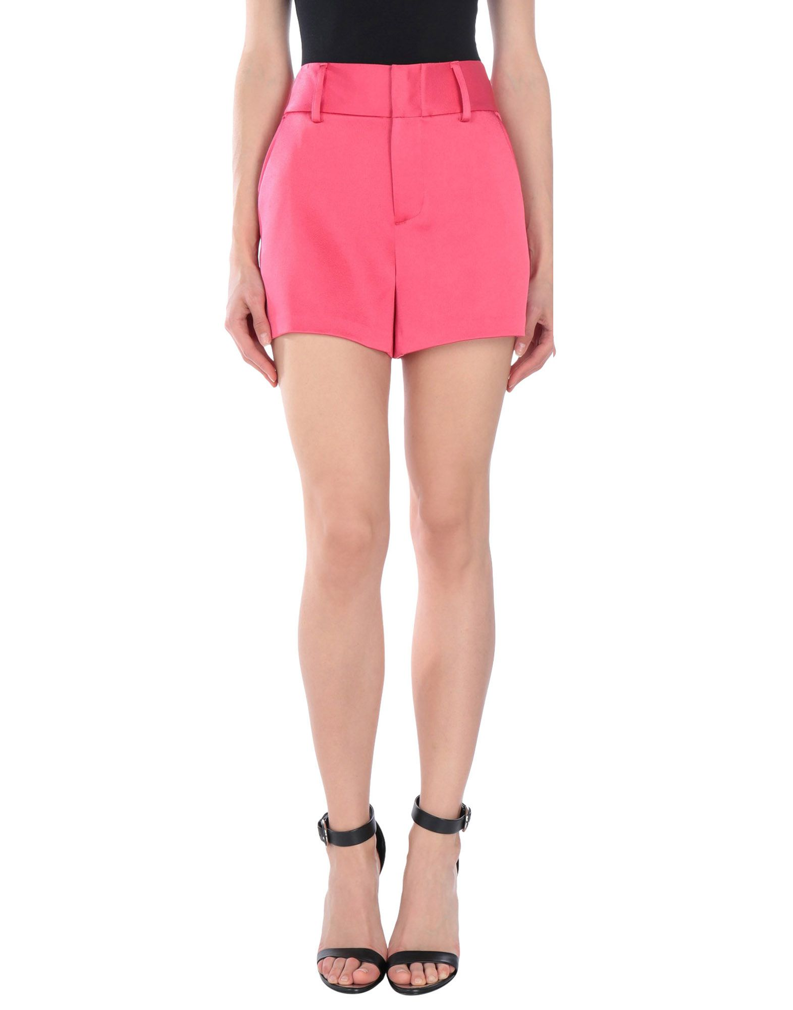 ALICE + OLIVIA Shorts. satin, no appliqués, basic solid color, mid rise, regular fit, straight leg, hook-and-bar, zip, multipockets, pants. 75% Triacetate, 25% Polyester