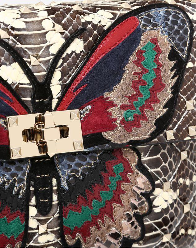 Mittelgroße Tasche Rockstud Spike.it mit Schmetterlingsstickerei