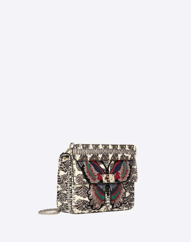 Medium butterfly embroidery Rockstud Spike.it Bag