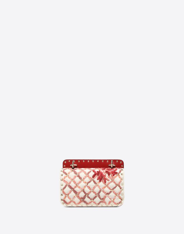 Small Canvas coral embroidery Rockstud Spike.it Bag