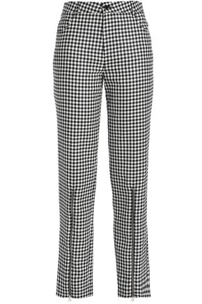 McQ Alexander McQueen Zip-detailed gingham wool-twill straight-leg pants