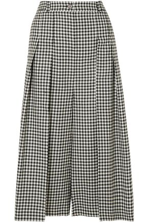 McQ Alexander McQueen Pleated gingham wool culottes