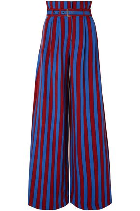 MAISON MARGIELA Belted striped crepe wide-leg pants