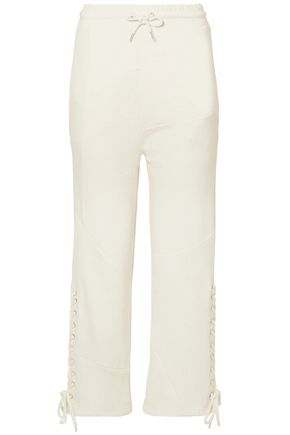 McQ Alexander McQueen Lace-up cropped French cotton-terry straight-leg pants